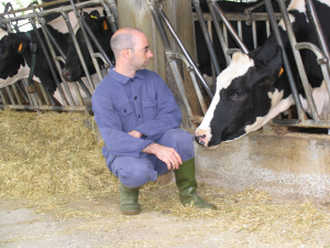 Andrea Minuti with a Frisian dairy cow.